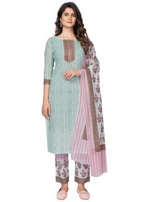 Multi Colour Cotton Print Readymade Suit