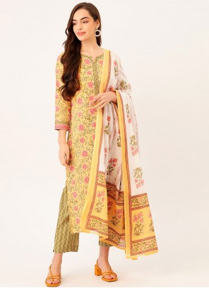 Cotton Print Readymade Suit in Yellow