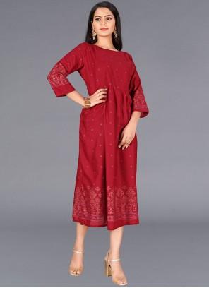 Cotton Print Red Party Wear Kurti