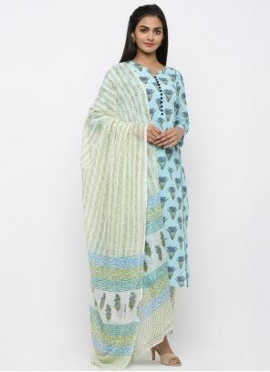 Blue Cotton Print Salwar Suit