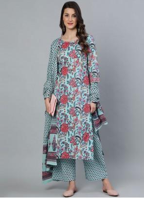 Cotton Print Sea Green Readymade Suit