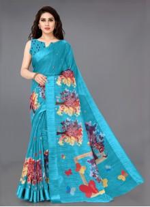 Cotton Printed Aqua Blue Classic Saree