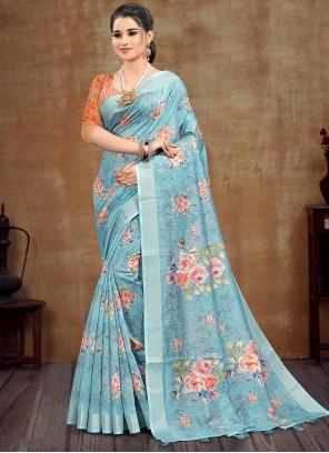 Cotton Printed Aqua Blue Saree