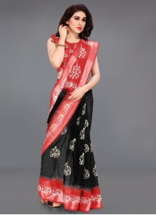 Cotton Printed Black and Red Saree