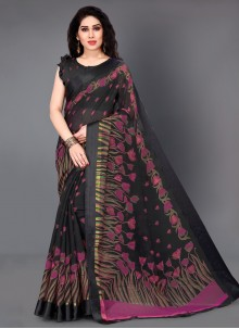 Cotton Printed Black Casual Saree