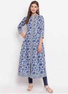 Cotton Printed Blue Designer Kurti