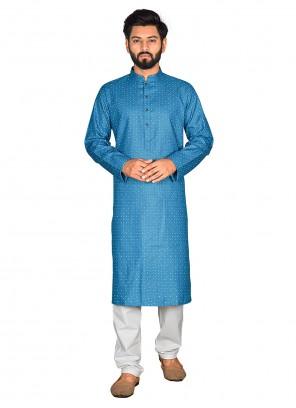 Cotton Printed  Aqua Blue Kurta Pyjama