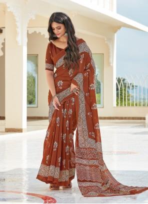 Cotton Printed Brown Casual Saree