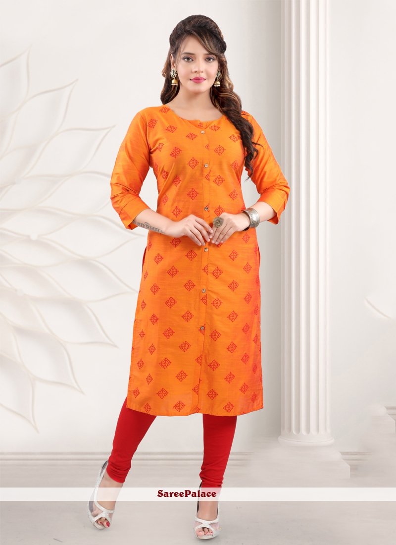 Cotton Printed Casual Kurti in Orange