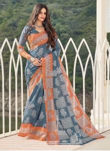 Grey Cotton Printed Casual Saree