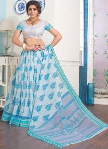 Cotton Printed Casual Saree in Aqua Blue