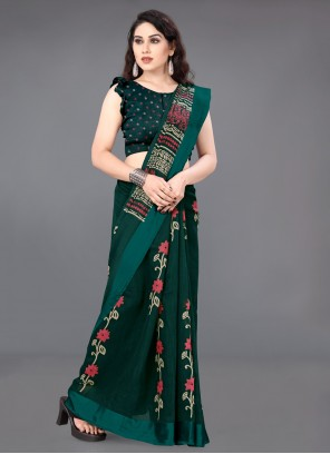 Cotton Printed Casual Saree in Green