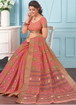 Cotton Printed Casual Saree in Peach