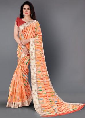 Pink Cotton Printed Classic Saree