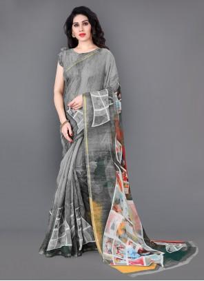 Cotton Printed Classic Saree in Grey