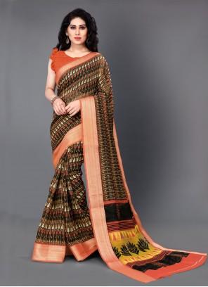 Cotton Printed Classic Saree in Multi Colour