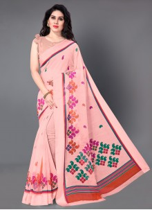 Cotton Printed Classic Saree in Pink