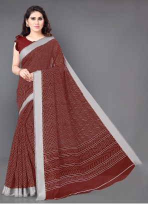 Cotton Printed Classic Saree in Red