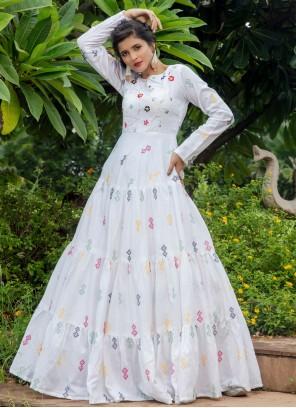 Cotton Printed Designer Gown in White