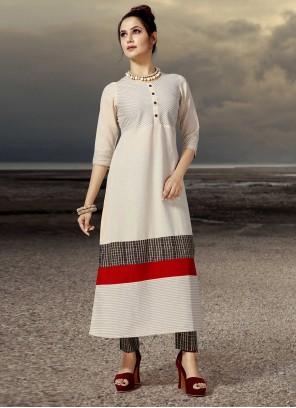 Cotton Printed Designer Kurti in Cream
