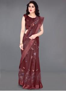 Maroon Cotton Printed Designer Saree