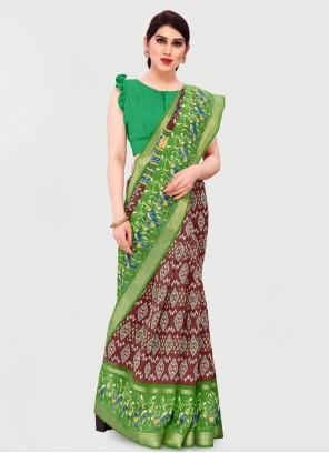 Cotton Green and Maroon Casual Printed Saree