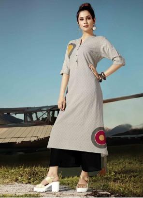 Cotton Printed Grey Designer Kurti