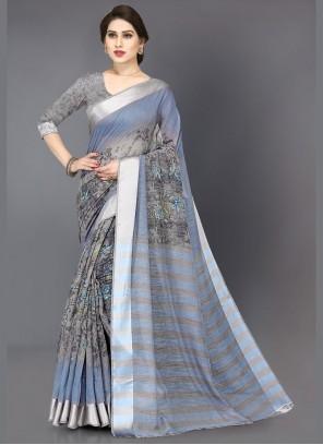 Cotton Grey Printed Saree