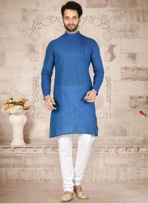 Cotton Printed Kurta Pyjama in Blue