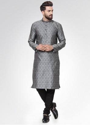Cotton Printed Kurta Pyjama in Grey