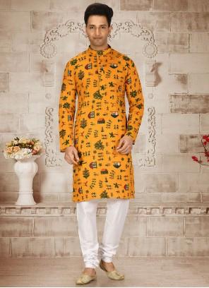 Cotton Printed Kurta Pyjama in Yellow