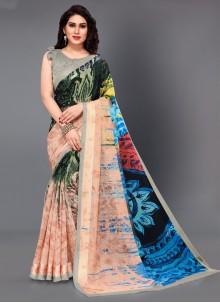 Cotton Printed Multi Colour Classic Saree