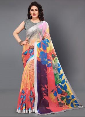 Cotton Printed Multi Colour Designer Saree