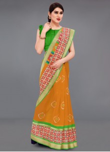 Cotton Printed Mustard Saree
