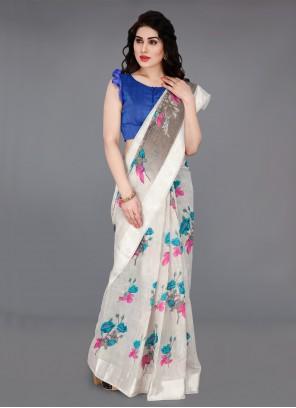 Cotton Printed Off White Classic Saree
