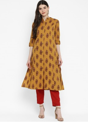 Mustard Cotton Printed Party Wear Kurti