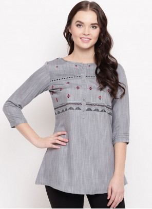 Cotton Printed Party Wear Kurti in Grey