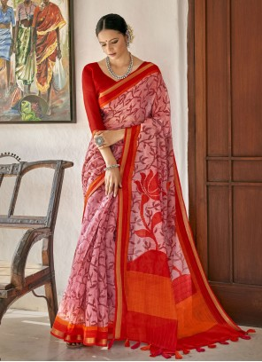 Cotton Pink and Red Printed Saree