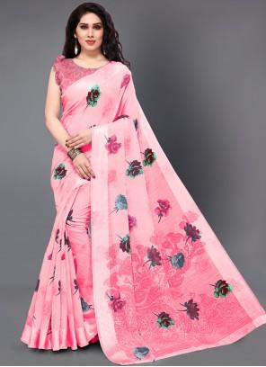 Cotton Printed Pink Casual Saree