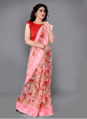 Cotton Printed Pink Classic Designer Saree