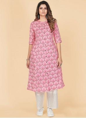 Cotton Printed Pink Party Wear Kurti