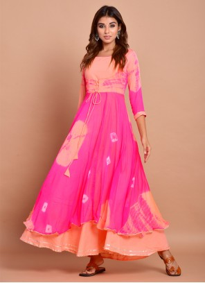 Cotton Printed Pink Readymade Designer Gown