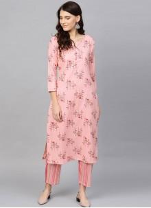 Cotton Printed Pink Salwar Kameez