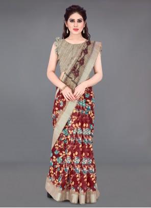 Multi Colour Printed Cotton Saree