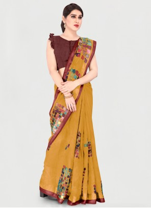 Cotton Mustard Printed Saree