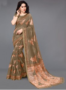 Cotton Printed Brown Saree
