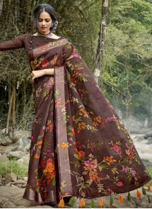 Cotton Printed  Multi Colour Saree