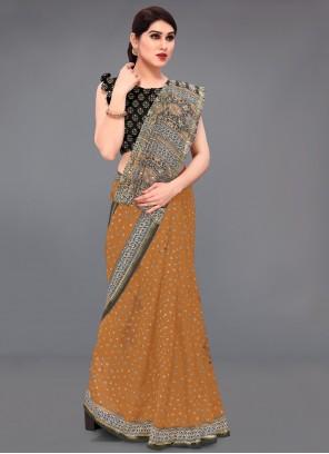 Cotton Printed Saree in Mustard