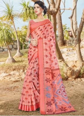Cotton Printed Saree in Rose Pink