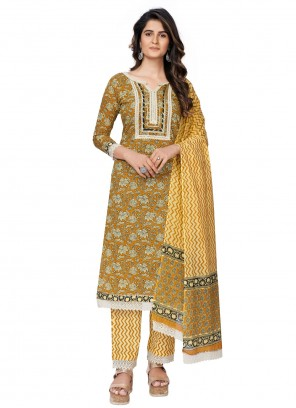 Mustard Cotton Printed Readymade Suit